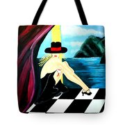 Bar Scene Lady With Hat By The Water Tote Bag