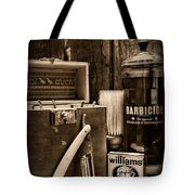 Barber - Vintage Barber Tools - Black And White Tote Bag