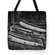 Barber - Vintage Razors In Black And White Tote Bag