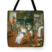 Barbers Shop With Monkeys And Cats Oil On Copper Tote Bag