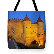 Barbican At Night In The Old Town Of Warsaw Tote Bag