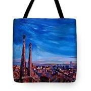 Barcelona City View And Sagrada Familia Tote Bag