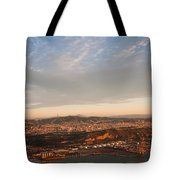 Barcelona On Sunrise. Aerial View Tote Bag