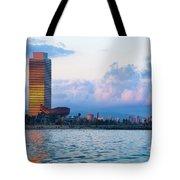 Barcelona Skyline From Sea Tote Bag