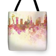 Barcelona Skyline In Watercolour Background  Tote Bag