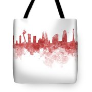 Barcelona Skyline In Watercolour On White Background Tote Bag
