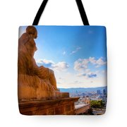Barcelona View From Catalunya National Museum Of Art Tote Bag