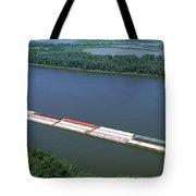 Barge In A River, Mississippi River Tote Bag
