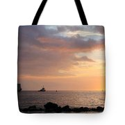 Barge Into The Sunset Tote Bag