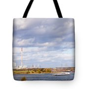 Barges On River Rhine At Duisburg Germany Europe Tote Bag