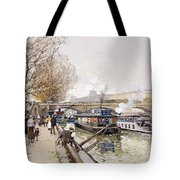 Barges On The Seine Tote Bag by Eugene Galien-Laloue