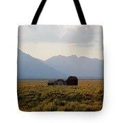 Barn And Mountains Tote Bag