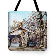 Barn By The Tree Tote Bag