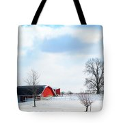 Barn Covered With Snow Tote Bag by Tina M Wenger
