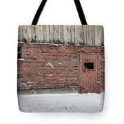 Barn Door In Winter Tote Bag