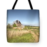 Barn In A Field With Hay Bales Tote Bag
