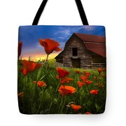 Barn In Poppies Tote Bag