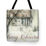 Barn In Snow Christmas Card Tote Bag
