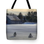 Barn In Snow In Color Tote Bag by Donna Doherty
