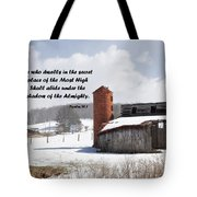 Barn In Winter With Psalm Scripture Tote Bag