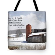 Barn In Winter With Scripture Tote Bag