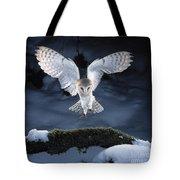 Barn Owl Landing Tote Bag