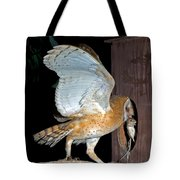 Barn Owl With Rat Tote Bag