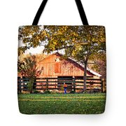 Barn Through The Trees Tote Bag by Cricket Hackmann