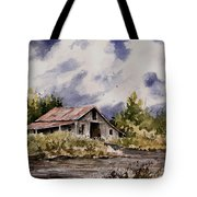 Barn Under Puffy Clouds Tote Bag