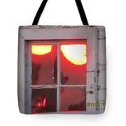 Barn Window Sunset Up Close Tote Bag