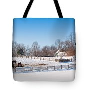 Barn With Horses  Tote Bag