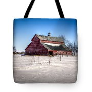 Barn With Melting Snow Tote Bag