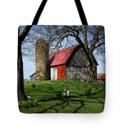 Barn With Silo In Springtime Tote Bag