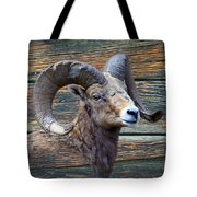 Barn Wood Bighorn Tote Bag
