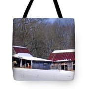 Barns And Horses In Winter Tote Bag