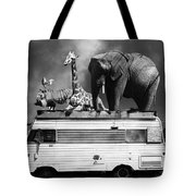 Barnum And Bailey Goes On A Road Trip 5d22705 Vertical Black And White Tote Bag