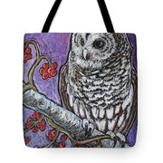 Barred Owl And Berries Tote Bag