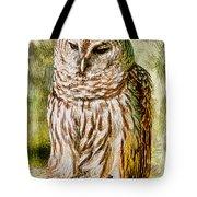 Barred Owl On Moss Tote Bag