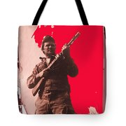 Barry Sadler Machine Gun Authentic Ww2 Africa Korps Hat Camouflage Clothes Collage Tucson 1971-2012 Tote Bag