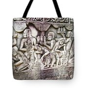 Bas-reliefs Of Khmer Daily Activities In The Bayon In Angkor Thom-cambodia  Tote Bag