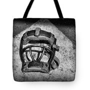 Baseball Catchers Mask Vintage In Black And White Tote Bag