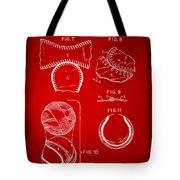 Baseball Construction Patent 2 - Red Tote Bag by Nikki Marie Smith