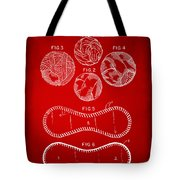 Baseball Construction Patent - Red Tote Bag by Nikki Marie Smith