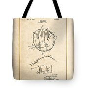 Baseball Mitt By Archibald J. Turner - Vintage Patent Document Tote Bag