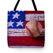 Baseball On American Flag Tote Bag