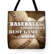 Baseball Print With Babe Ruth Quotation Tote Bag
