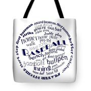 Baseball Terms Typography Blue On White Tote Bag