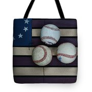 Baseballs On American Flag Folkart Tote Bag