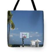 Basketball Goal On The Beach Tote Bag