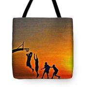 Basketball Sunrise Tote Bag